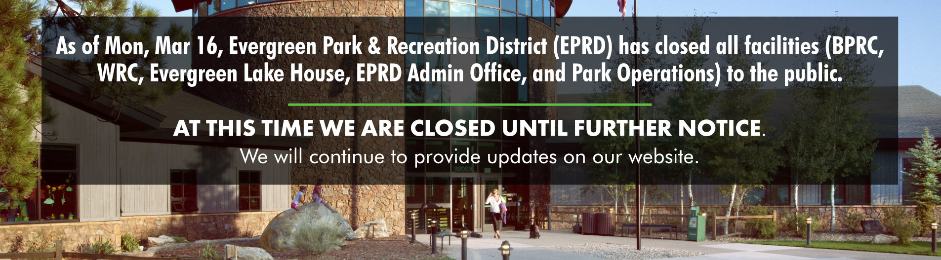 COVID-19 Alert: facilities and programs at EPRD are closed until April 30. Anticipated opening date is Friday, May 1st.