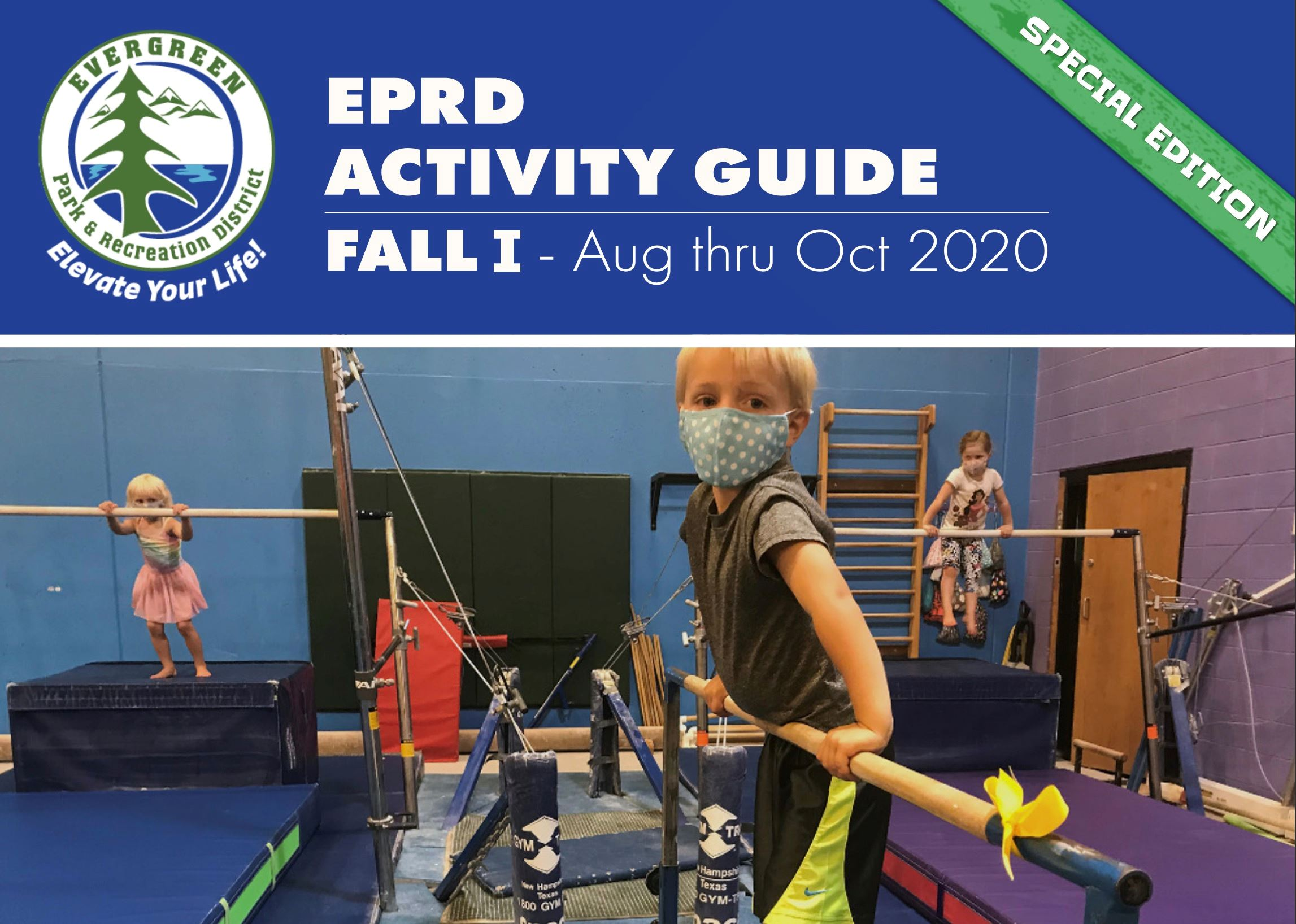 Front Cover of Fall 2020 Activity Guide. Youth doing gymnastics in face masks.