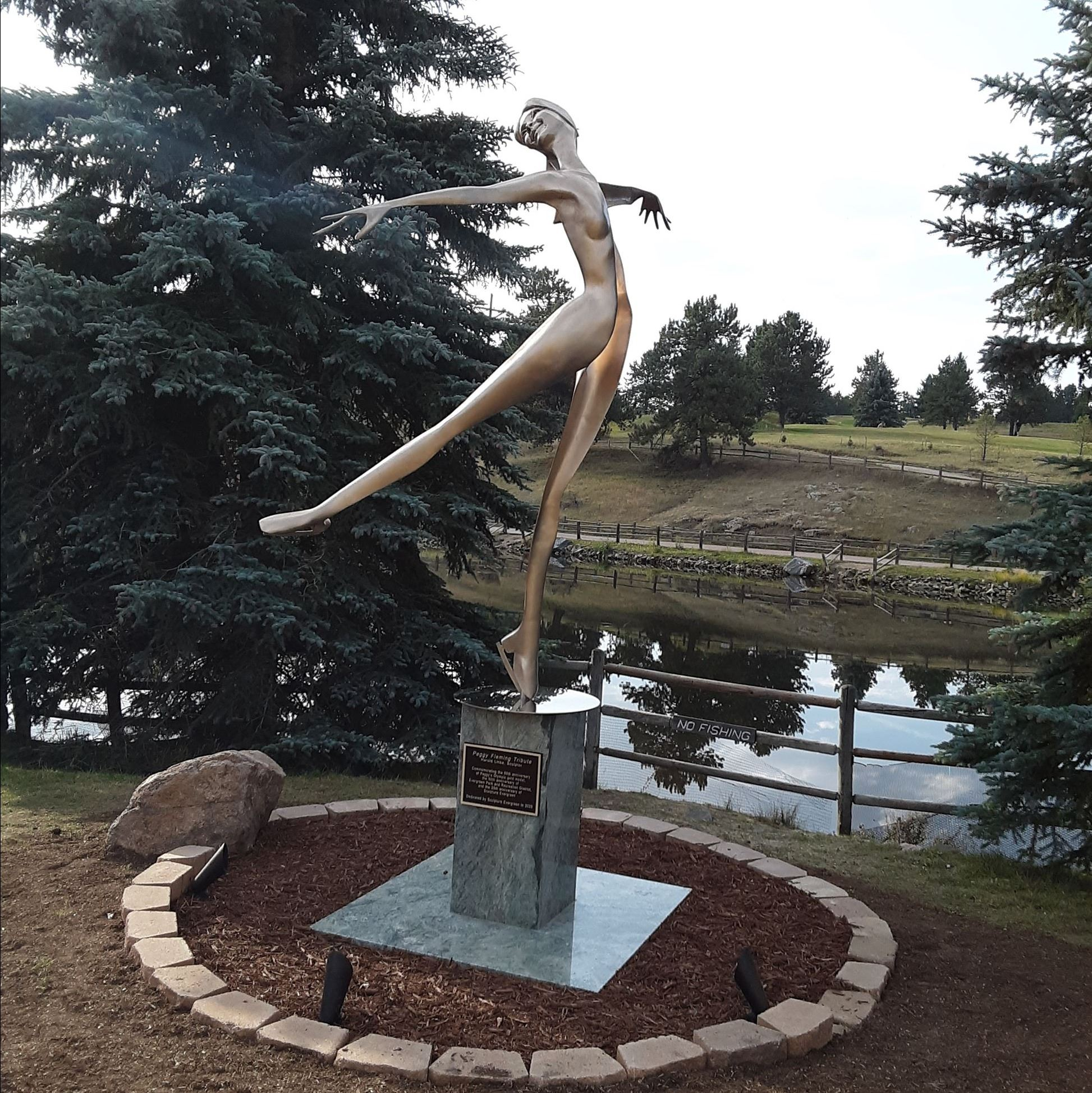 Peggy Fleming Statue at Evergreen Lake