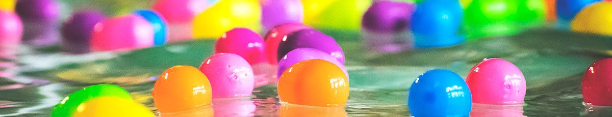 Plastic Easter eggs floating in rec center pool