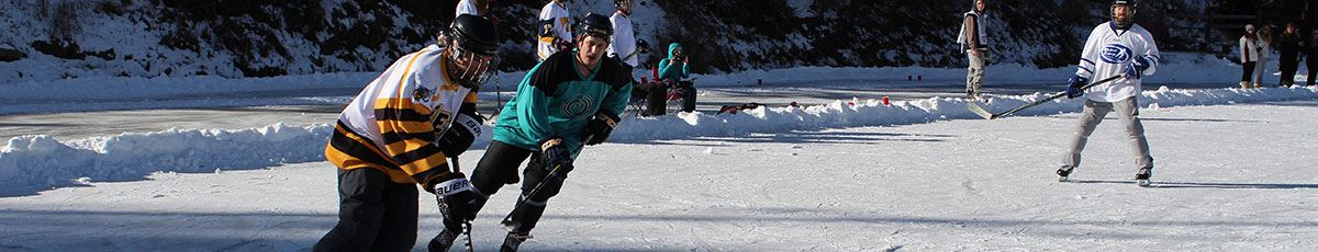 Pond Hockey Championship with players on ice