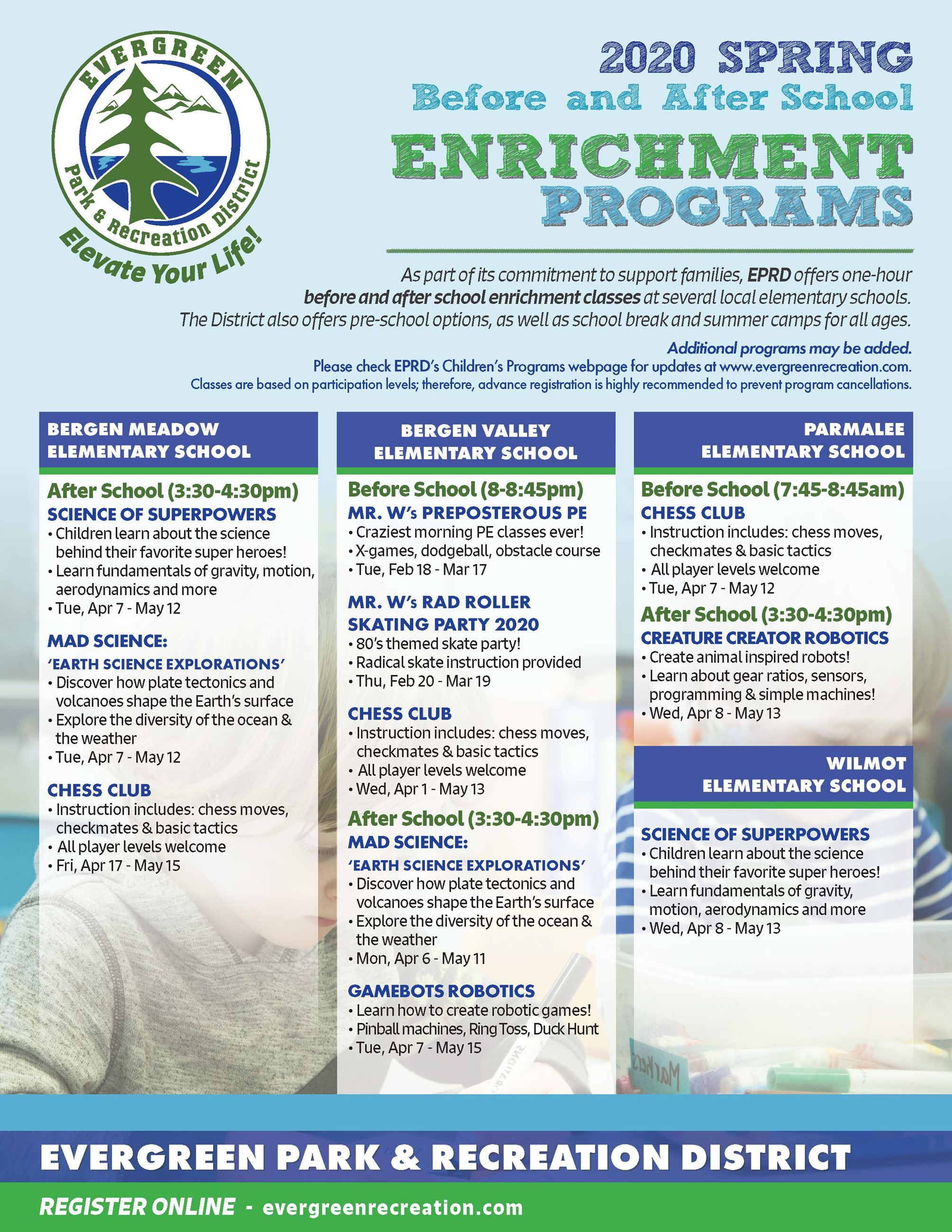 EPRD Winter-Spring Enrichment flyer 2020
