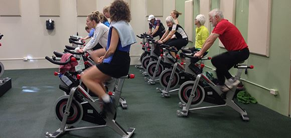 Group Class on Indoor Cycling Bikes
