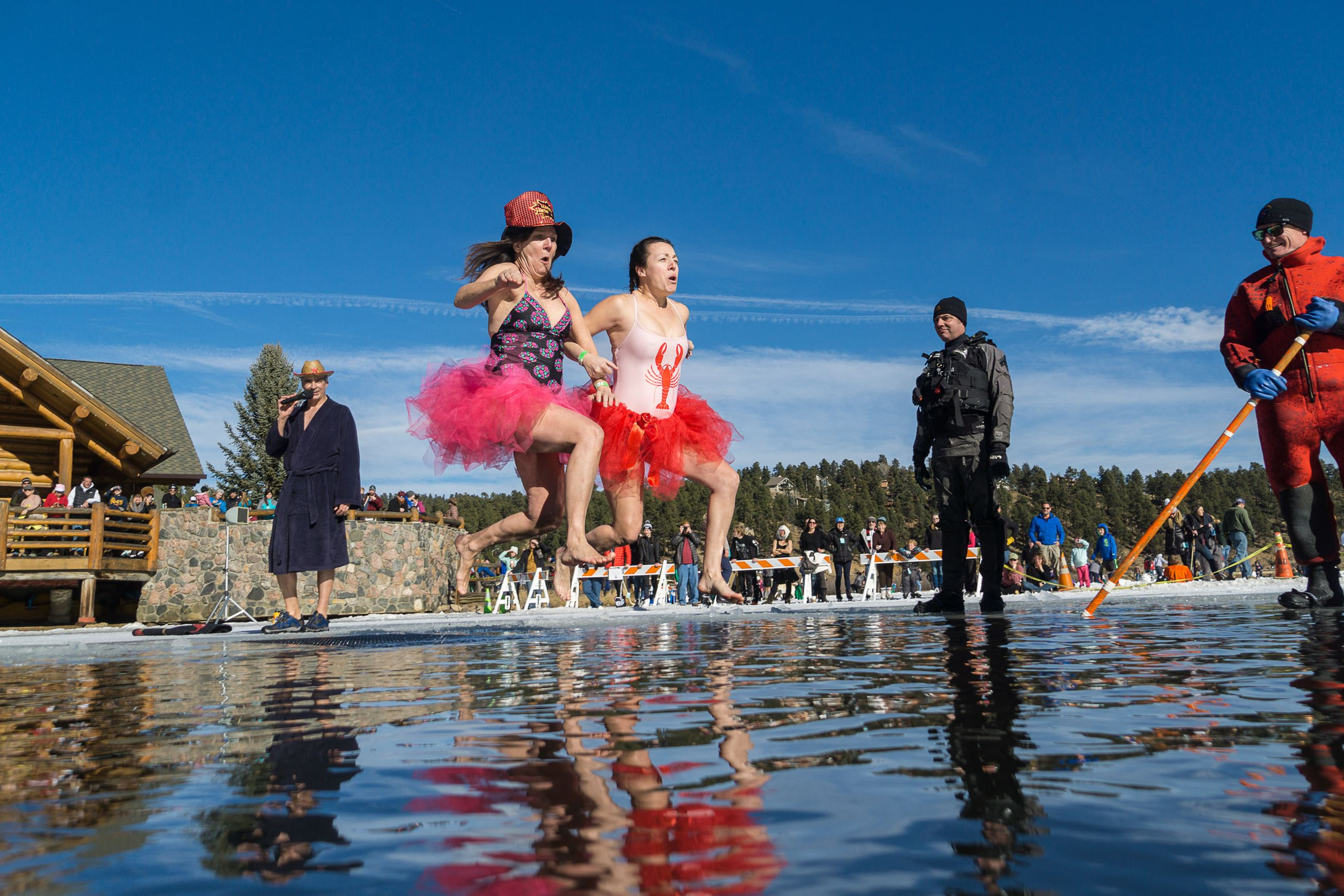 EPRD Lake Plunge  Two Women in Costumes Jumping in Water