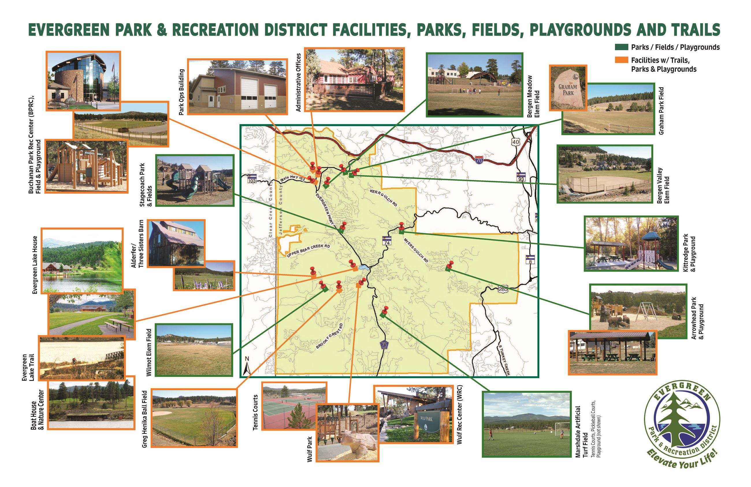 Evergreen Park & Recreation District Facilities, Parks, Fields, Playgrounds and Trails