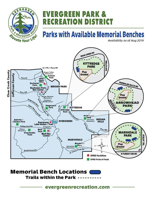 Memorial Bench Map with Availability as of Aug 2019