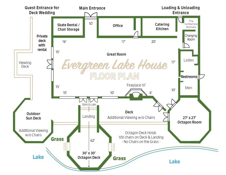 Layout map showing Evergreen Lake House floor plan